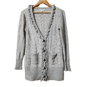 Banana Republic Wool Blend Pointelle Knit Ruffle Neck Button Up Cardigan Size S